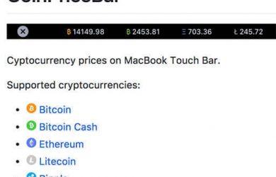 CoinPriceBar - 在 MacBook Touch Bar 显示比特币价格 35